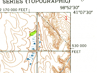 Reduced fragment of topographic map en--usgs--024k--037156--(1953)--N041-07-30_W099-00-00--N041-00-00_W098-52-30; towns and cities Ravenna