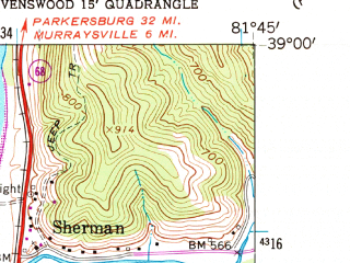 Reduced fragment of topographic map en--usgs--024k--037162--(1960)--N039-00-00_W081-52-30--N038-52-30_W081-45-00; towns and cities Ravenswood