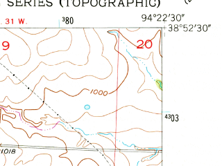 Reduced fragment of topographic map en--usgs--024k--037218--(1954)--N038-52-30_W094-30-00--N038-45-00_W094-22-30; towns and cities Raymore