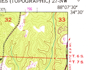 Reduced fragment of topographic map en--usgs--024k--037275--(1951)--N034-30-00_W088-15-00--N034-22-30_W088-07-30; towns and cities Golden, Red Bay