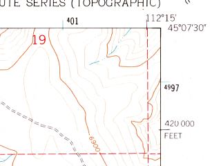 Reduced fragment of topographic map en--usgs--024k--037301--(1961)--N045-07-30_W112-22-30--N045-00-00_W112-15-00