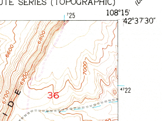 Reduced fragment of topographic map en--usgs--024k--037303--(1957)--N042-37-30_W108-22-30--N042-30-00_W108-15-00