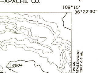 Reduced fragment of topographic map en--usgs--024k--037316--(1955)--N036-22-30_W109-22-30--N036-15-00_W109-15-00
