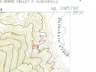 Reduced fragment of topographic map en--usgs--024k--037397--(1962)--N039-30-00_W108-15-00--N039-22-30_W108-07-30
