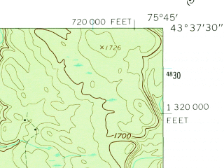Reduced fragment of topographic map en--usgs--024k--037463--(1960)--N043-37-30_W075-52-30--N043-30-00_W075-45-00