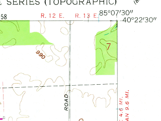 Reduced fragment of topographic map en--usgs--024k--037480--(1960)--N040-22-30_W085-15-00--N040-15-00_W085-07-30; towns and cities Albany, Dunkirk, Redkey