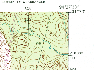 Reduced fragment of topographic map en--usgs--024k--037482--(1950)--N031-30-00_W094-45-00--N031-22-30_W094-37-30