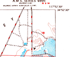 Reduced fragment of topographic map en--usgs--024k--037486--(1947)--N034-52-30_W118-00-00--N034-45-00_W117-52-30
