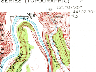 Reduced fragment of topographic map en--usgs--024k--037490--(1962)--N044-22-30_W121-15-00--N044-15-00_W121-07-30; towns and cities Redmond, Terrebonne