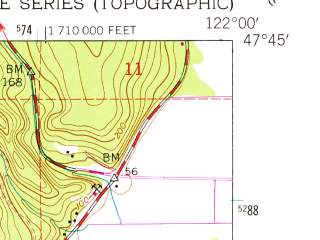 Reduced fragment of topographic map en--usgs--024k--037491--(1950)--N047-45-00_W122-07-30--N047-37-30_W122-00-00; towns and cities Redmond, Woodinville, Sahalee