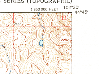 Reduced fragment of topographic map en--usgs--024k--037494--(1959)--N044-45-00_W102-37-30--N044-37-30_W102-30-00
