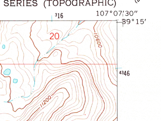 Reduced fragment of topographic map en--usgs--024k--037497--(1960)--N039-15-00_W107-15-00--N039-07-30_W107-07-30