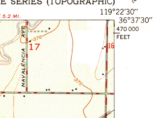 Reduced fragment of topographic map en--usgs--024k--037526--(1951)--N036-37-30_W119-30-00--N036-30-00_W119-22-30; towns and cities Dinuba, Reedley