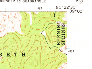 Reduced fragment of topographic map en--usgs--024k--037535--(1957)--N039-00-00_W081-30-00--N038-52-30_W081-22-30; towns and cities Reedy