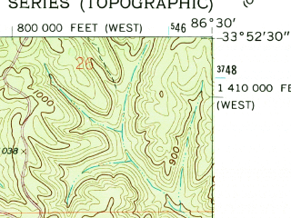 Reduced fragment of topographic map en--usgs--024k--037595--(1960)--N033-52-30_W086-37-30--N033-45-00_W086-30-00