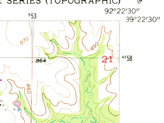 Reduced fragment of topographic map en--usgs--024k--037611--(1953)--N039-22-30_W092-30-00--N039-15-00_W092-22-30; towns and cities Renick