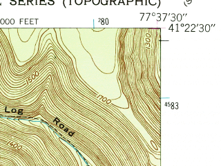 Reduced fragment of topographic map en--usgs--024k--037625--(1946)--N041-22-30_W077-45-00--N041-15-00_W077-37-30; towns and cities Renovo, South Renovo