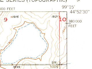 Reduced fragment of topographic map en--usgs--024k--037717--(1950)--N044-52-30_W099-22-30--N044-45-00_W099-15-00