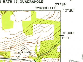 Reduced fragment of topographic map en--usgs--024k--037724--(1953)--N042-30-00_W077-22-30--N042-22-30_W077-15-00