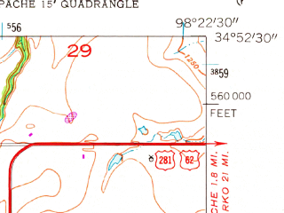Reduced fragment of topographic map en--usgs--024k--037782--(1956)--N034-52-30_W098-30-00--N034-45-00_W098-22-30