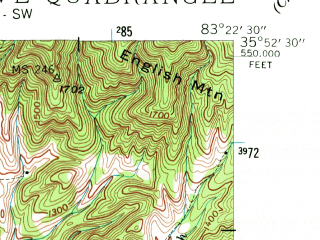 Reduced fragment of topographic map en--usgs--024k--037785--(1940)--N035-52-30_W083-30-00--N035-45-00_W083-22-30; towns and cities Pittman Center