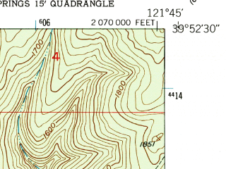 Reduced fragment of topographic map en--usgs--024k--037788--(1951)--N039-52-30_W121-52-30--N039-45-00_W121-45-00; towns and cities Chico