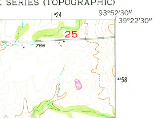 Reduced fragment of topographic map en--usgs--024k--037842--(1957)--N039-22-30_W094-00-00--N039-15-00_W093-52-30; towns and cities Richmond