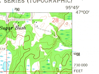 Reduced fragment of topographic map en--usgs--024k--037863--(1959)--N047-00-00_W095-52-30--N046-52-30_W095-45-00 in area of Rock Lake