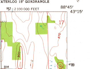 Reduced fragment of topographic map en--usgs--024k--037864--(1959)--N043-15-00_W088-52-30--N043-07-30_W088-45-00