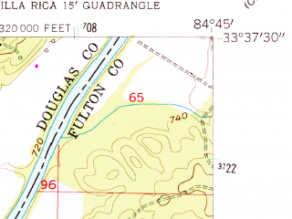 Reduced fragment of topographic map en--usgs--024k--037869--(1958)--N033-37-30_W084-52-30--N033-30-00_W084-45-00