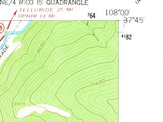 Reduced fragment of topographic map en--usgs--024k--037870--(1960)--N037-45-00_W108-07-30--N037-37-30_W108-00-00; towns and cities Rico
