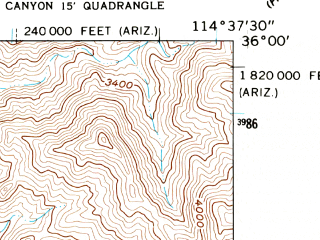 Reduced fragment of topographic map en--usgs--024k--037952--(1959)--N036-00-00_W114-45-00--N035-52-30_W114-37-30