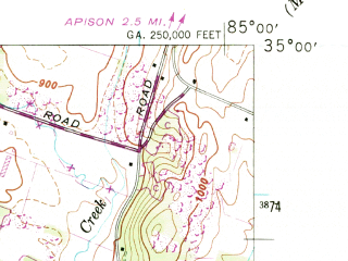 Reduced fragment of topographic map en--usgs--024k--037956--(1946)--N035-00-00_W085-07-30--N034-52-30_W085-00-00; towns and cities Ringgold