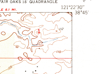 Reduced fragment of topographic map en--usgs--024k--037980--(1951)--N038-45-00_W121-30-00--N038-37-30_W121-22-30; towns and cities North Highlands, Rio Linda