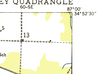 Reduced fragment of topographic map en--usgs--024k--037988--(1936)--N034-52-30_W087-07-30--N034-45-00_W087-00-00