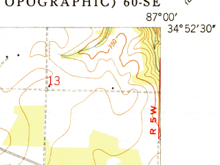 Reduced fragment of topographic map en--usgs--024k--037988--(1951)--N034-52-30_W087-07-30--N034-45-00_W087-00-00