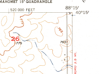 Reduced fragment of topographic map en--usgs--024k--038005--(1957)--N040-15-00_W088-22-30--N040-07-30_W088-15-00; towns and cities Lake Of The Woods