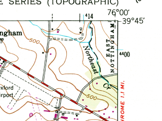 Reduced fragment of topographic map en--usgs--024k--038011--(1953)--N039-45-00_W076-07-30--N039-37-30_W076-00-00; towns and cities Rising Sun