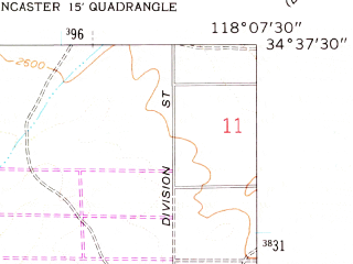 Reduced fragment of topographic map en--usgs--024k--038020--(1958)--N034-37-30_W118-15-00--N034-30-00_W118-07-30; towns and cities Desert View Highlands