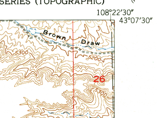 Reduced fragment of topographic map en--usgs--024k--038071--(1951)--N043-07-30_W108-30-00--N043-00-00_W108-22-30; towns and cities Riverton