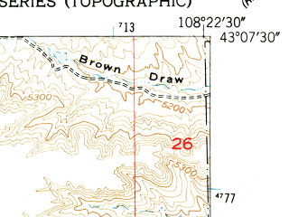 Reduced fragment of topographic map en--usgs--024k--038071--(1959)--N043-07-30_W108-30-00--N043-00-00_W108-22-30; towns and cities Riverton