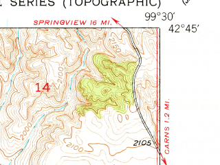 Reduced fragment of topographic map en--usgs--024k--038073--(1949)--N042-45-00_W099-37-30--N042-37-30_W099-30-00