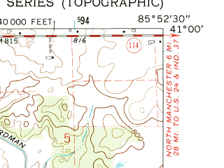 Reduced fragment of topographic map en--usgs--024k--038088--(1961)--N041-00-00_W086-00-00--N040-52-30_W085-52-30; towns and cities Roann