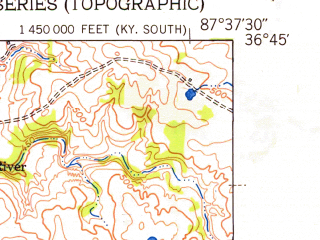 Reduced fragment of topographic map en--usgs--024k--038103--(1951)--N036-45-00_W087-45-00--N036-37-30_W087-37-30; towns and cities Lafayette