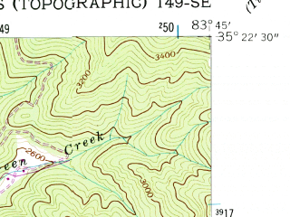 Reduced fragment of topographic map en--usgs--024k--038121--(1940)--N035-22-30_W083-52-30--N035-15-00_W083-45-00; towns and cities Robbinsville, Santeetlah