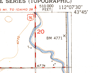 Reduced fragment of topographic map en--usgs--024k--038134--(1950)--N043-45-00_W112-15-00--N043-37-30_W112-07-30; towns and cities Roberts