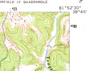 Reduced fragment of topographic map en--usgs--024k--038144--(1958)--N038-45-00_W082-00-00--N038-37-30_W081-52-30; towns and cities Leon