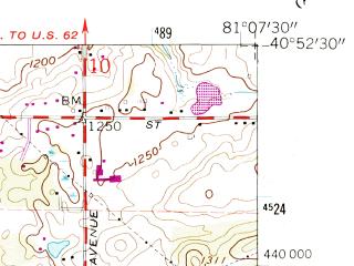 Reduced fragment of topographic map en--usgs--024k--038147--(1960)--N040-52-30_W081-15-00--N040-45-00_W081-07-30