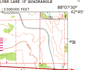 Reduced fragment of topographic map en--usgs--024k--038187--(1960)--N042-45-00_W088-15-00--N042-37-30_W088-07-30; towns and cities Browns Lake, Eagle Lake, Rochester