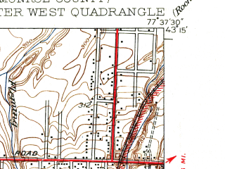 Reduced fragment of topographic map en--usgs--024k--038199--(1935)--N043-15-00_W077-45-00--N043-07-30_W077-37-30; towns and cities Gates-north Gates, Greece
